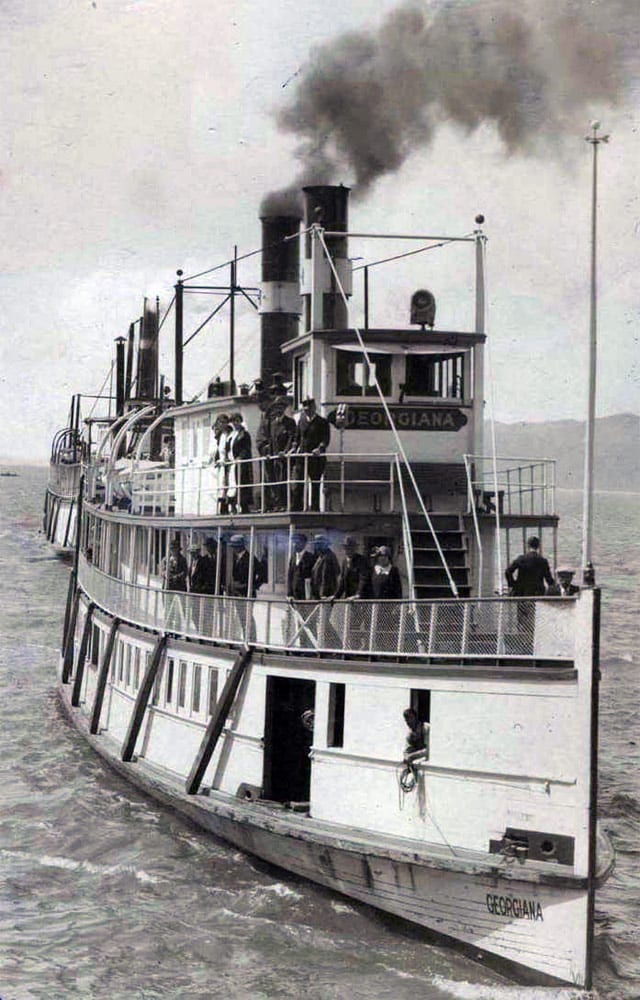 The Steamer Georgiana ran on the Columbia to Portland. The trip took overnight. Courtesy Cathlamet Blanche Bradley Public Library