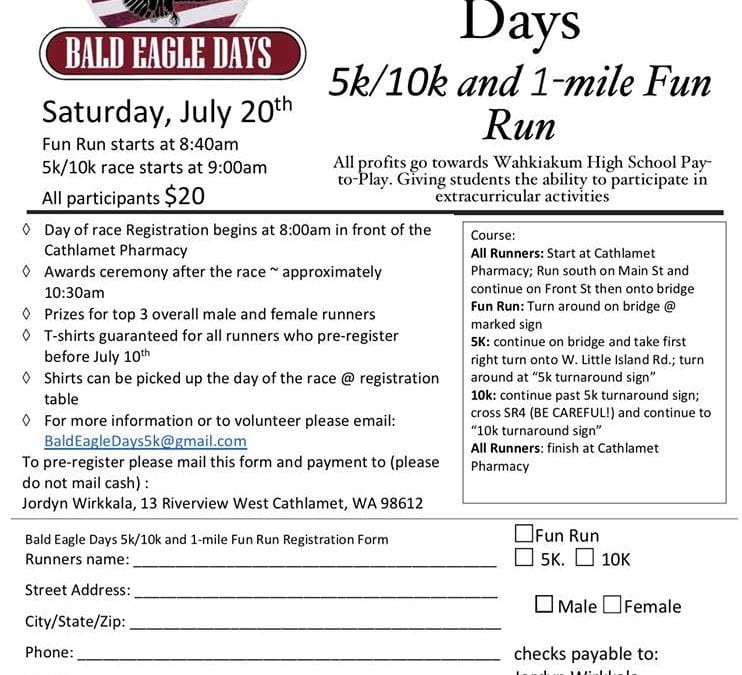 2019 Bald Eagle Days Fun Run – Sat. July 20th